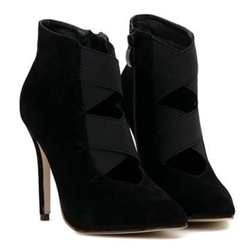 Black Cut Out Stiletto Heel PU Boots