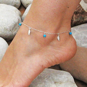 Leaves Anklet, Turquoise Ankle Bracelet, 925 Sterling Silver, Dangle Leaf Anklet, Beach Foot Jewelry, Bridesmaid Jewelry, Gift Under 25