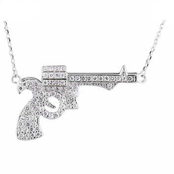 925 Sterling Silver Cubic Zirconia Pistol Necklace For Women