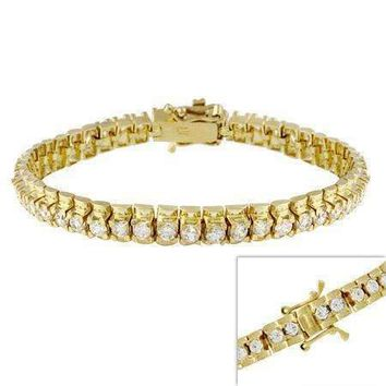 18kt Gold over Sterling Silver CZ Tennis Bracelet