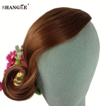 SHANGKE Short Curly Gradient Hair Bangs Women Natural Fake Hair Pieces Hairstyles Heat Resistant Synthetic Hairstyles Female