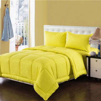 Tache 4 Piece Sunny Yellow Box Stitched Comforter Set-Queen