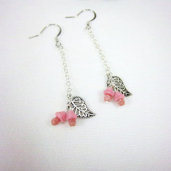 Pink Earrings Fairy Earrings Flower Earrings Leaf Earrings Charm Earrings Silver Earrings Fantasy Woodland Jewelry