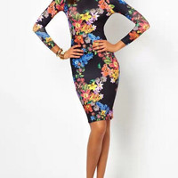 Floral Print Long-Sleeve Cutout Back Bodycon Dress