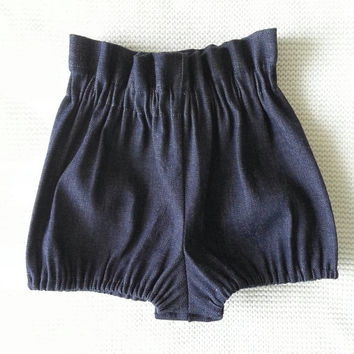 High waist denim baby bloomers {Indigo} infant bloomers, toddler girl bloomers