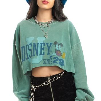 Vintage 90's Mickey Raw Cropped Sweatshirt - One Size Fits Many
