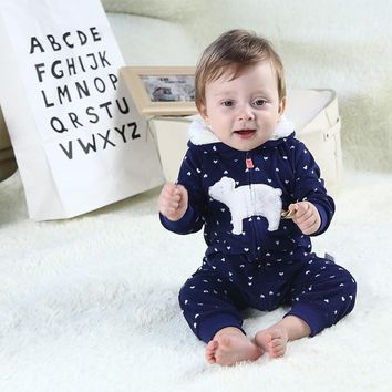 Infants baby clothes fleece romper long sleeve hooded warm clothes baby costumes toddler boys clothing girls overalls jumpsuit