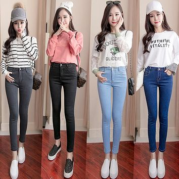 Plus Size High Waist Stretch Washed Jeans Woman Denim Pants  Befree Trousers For Women Pencil Skinny Jeans Light Blue Gray Black