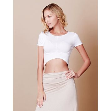 Stretchy Curved Hem Short Sleeve Crop Top (CLEARANCE)
