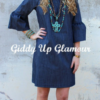 Adult Classic and Contemporary Denim Bell Sleeve Dress