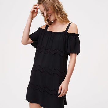 Chevron Embroidered Cold Shoulder Dress | LOFT