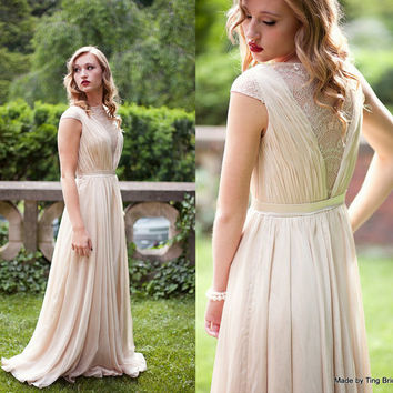 Custom Wedding Gown-Smoked Peach-Made to order in ivory, blush, smoked peach or black