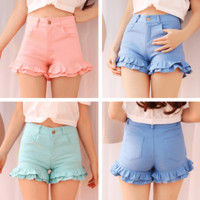 Pastel Sweet lotus leaf edge shorts SD01037