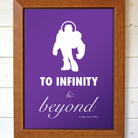 Disney Pixar Buzz Lightyear To Infinity & Beyond Movie Quote Minimalist Typography Home Decor Print Wall Art Typography Digital Print Poster