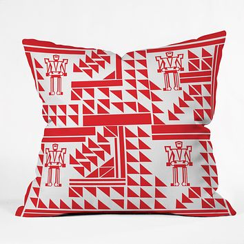 Vy La Robots And Triangles Throw Pillow