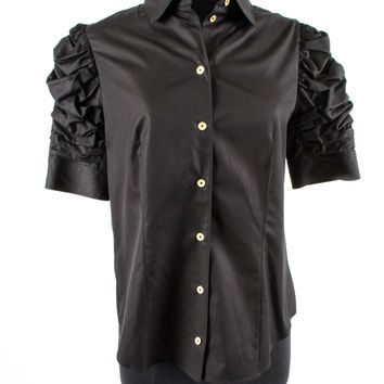 Black Cotton Shirt with Rouched Sleeves