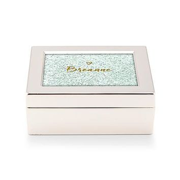 Small Modern Personalized Jewelry Box - Glitter Heart Print Gold Vintage Pink (Pack of 1)