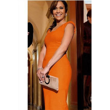 Ladies Fashion Midi Dress with Zipper Behind Orange