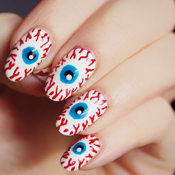 Halloween bloodshot eye nails