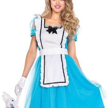 DCCKLP2 2PC.Classic Alice,apron dress,bow headband,oversized back bow in BLUE/WHITE