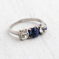 Vintage Sterling Silver Faux Diamond & Sapphire Ring - 1940s Size 6 3/4 Rhinestone Art Deco Signed Uncas Jewelry / Three Stone