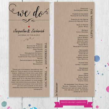 DIY Wedding Program Template, Order of Ceremony, Wedding Party, Editable Template,  Instant Download, Digital, Dangling Heart #1CM83-1
