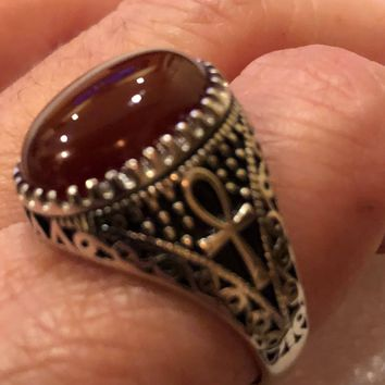 Vintage 1970 Gothic Sterling silver Genuine Carnilian Ankh Men's Ring