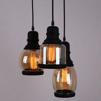 Glass Mason Jar Pendant Light with 3 Lights Black Finish