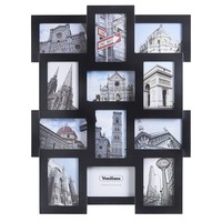 """VonHaus 12 x Decorative Collage Picture Frames For Multiple 4x6"""" Photos - Black Wooden Hanging Wall Photo Frame"""