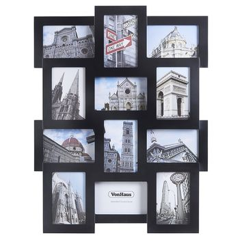 "VonHaus 12 x Decorative Collage Picture Frames For Multiple 4x6"" Photos - Black Wooden Hanging Wall Photo Frame"