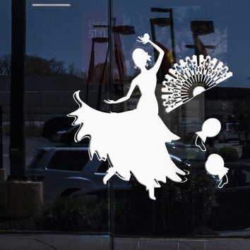Window and Wall Vinyl Decal Flamenco Spanish Dance Room Woman Home Decor Stickers Unique Gift (ig2125w)