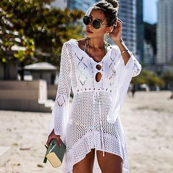 Ashgaily 2019 Crochet White Knitted Beach Cover up dress Tunic Long Pareos Bikinis Cover ups Swim Cover up Robe Plage Beachwear