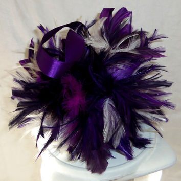 Flower Girl Purple Feather Pomander- White Feather Pomander-Wedding Kissing Ball- Basket Alternative