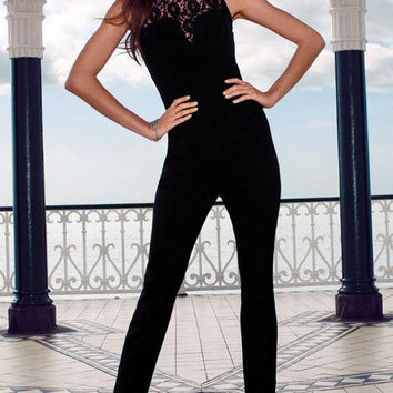 Heart-neck Lace Stitching Black Jumpsuit