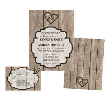Rustic Wooden Wedding Invitation Set Invitation and Response Card- Custom DIY Printable