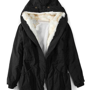 Black Shearling Lining Hooded Neck Pocket Detail Coat
