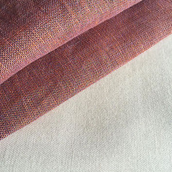 "57"" Cross Dye Purple and Orange 100% Linen Woven Fabric By the Yard"