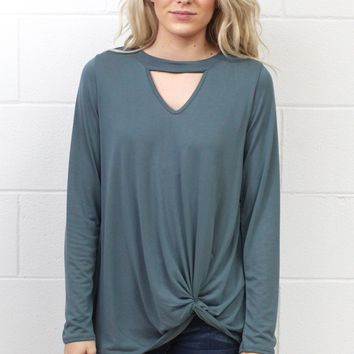 Get Twisted Long Sleeve Keyhole Top {Blue Steel}