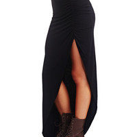 Cinched Side Slit Maxi Skirt | Wet Seal