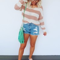 Get Straight To It Sweater: Blush/Ivory