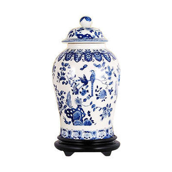 Beautiful Blue and White Porcelain Chinoiserie Bird Motif Temple Jar 19""