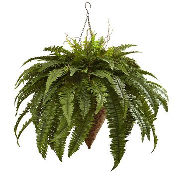 Silk Flowers -Giant Boston Fern With Cone Hanging Basket Artificial Plant