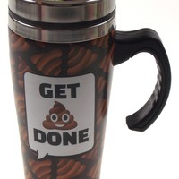 Coffee Travel Mug Get Poo Done Emoji Gift Splash Guard