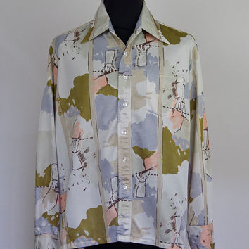 Watercolour design mens shirt 70's style polyester - XL size on label - button cuff with front pocket and 70's style collar