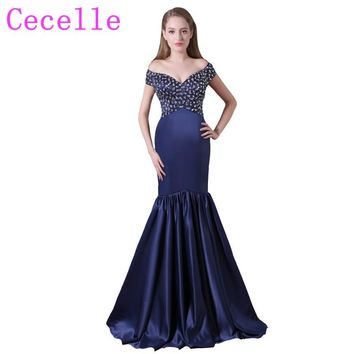 Sparkling Beaded Crystals Navy Blue Mermaid Long Prom Dresses off the shoulder Satin Simple Elegant Prom Party Gowns Real Photos