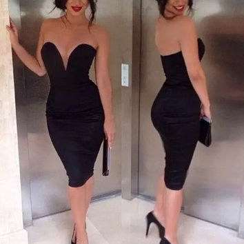 2014 Fashion sexy Bandage Dress strapless dress V-neck high waist knee-length dress. Party Dress #JY121 = 1931403652