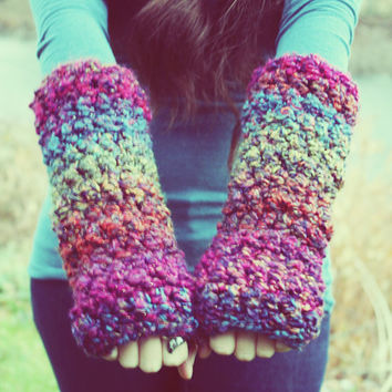 Handmade Crocheted Fingerless Gloves, Arm Sweaters, Bulky Arm Warmers, Wristers, Wrist warmers, Hand warmers, Thermal Warmers, Tribal Cuff
