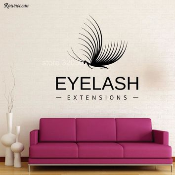 Modern Wall Sticker Vinyl Decal Makeup Extension Eyelashes Decorating Beauty Salon Home Decor Art Butterfly Quote Murals Z175