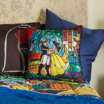 Disney Beauty And The Beast Stained Glass Throw Pillow