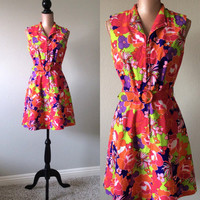 Vintage Mod Dress Floral Retro Dress 1960s Psychedelic Floral Print A Line Small to Medium